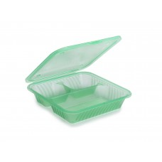 EC-16 Eco 3 Compartment Flat Top Food Container