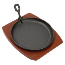 Olympia Cast Iron Round Sizzler with Wooden Stand